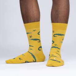 model side view of Crocodile Rock - Yellow Crocodile Socks - Men's