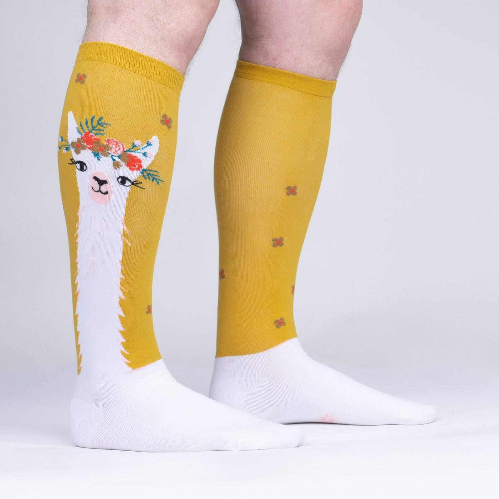 model side view of Llama Queen - Yellow Animal Socks - Unisex