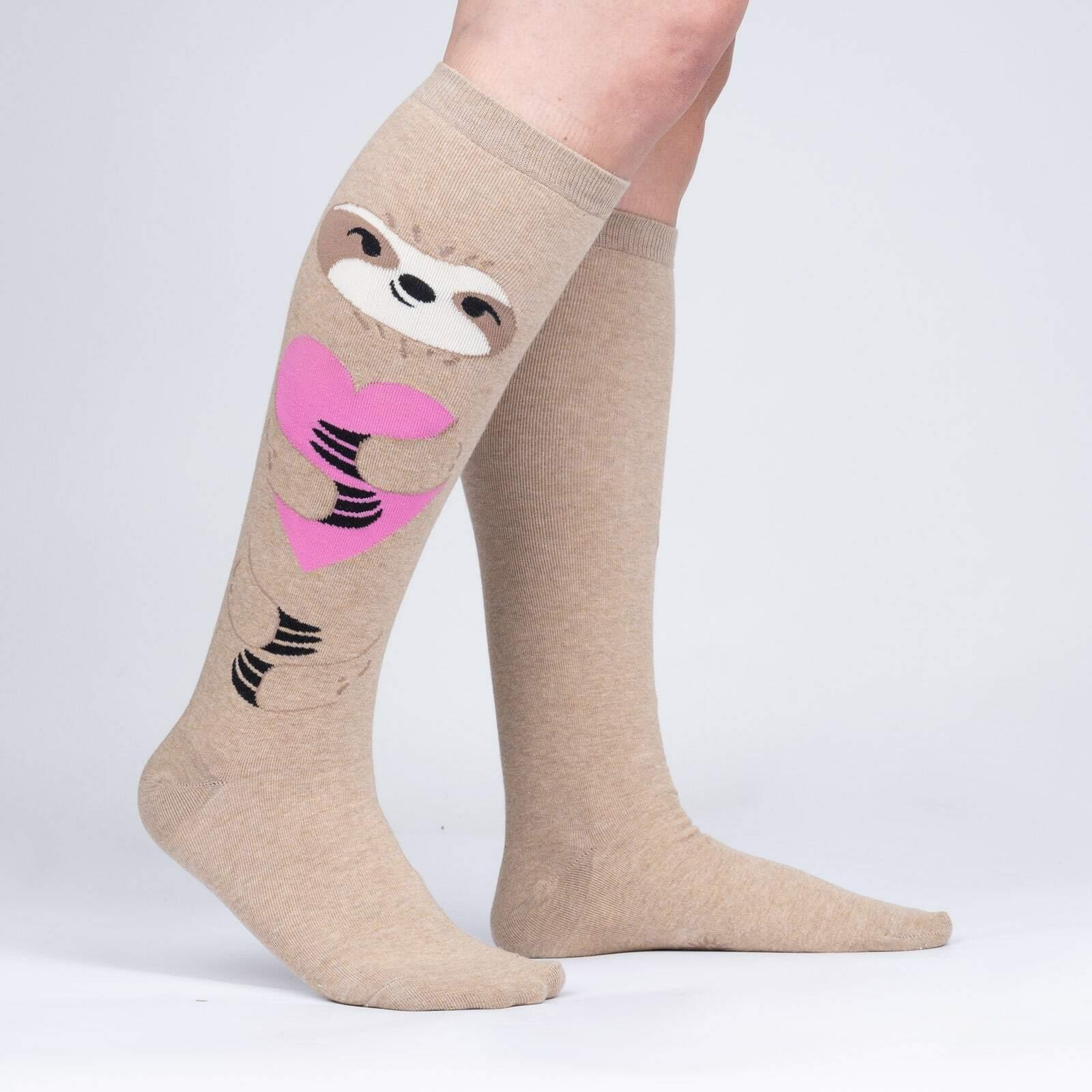 model side view of A Long Slow Hug - Heathered Sloth Socks - Unisex