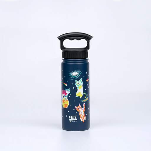 Space Cats - Animal Water Bottle - Unisex in Navy