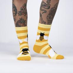 model wearing Bee Cozy - Fuzzy Yellow Bee Stripe Slipper Socks - Women's