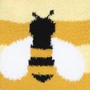 fabric detail of Bee Cozy - Fuzzy Yellow Bee Stripe Slipper Socks - Women's