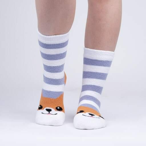 model wearing Hey Corgeous - Fuzzy Dog Slipper Socks - Women's