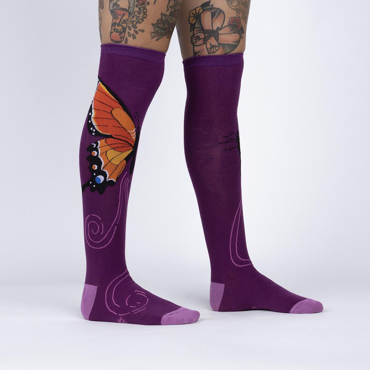 model side view of The Monarch - Beautiful Butterfly Knee High Socks Maroon - Women's