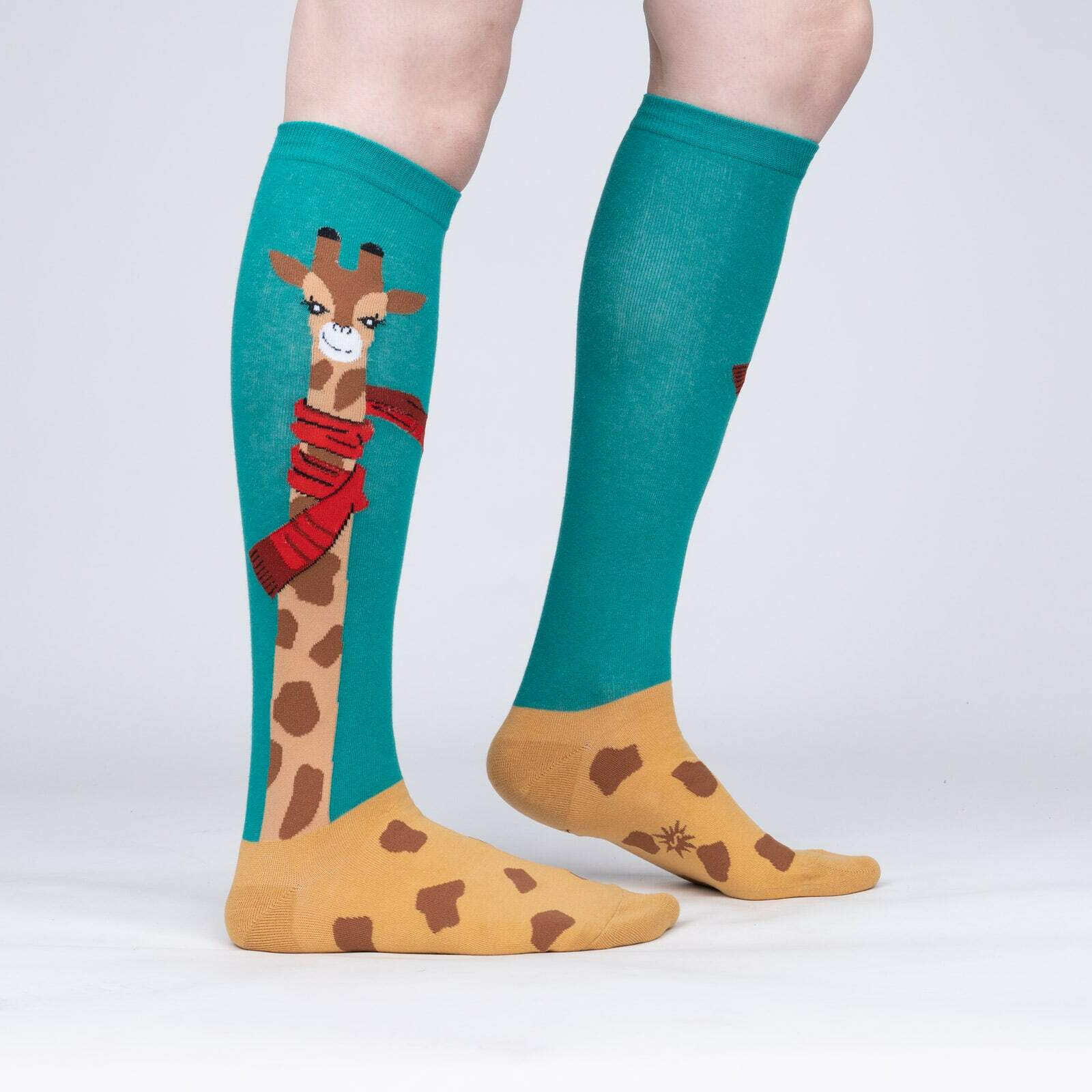 model side view of Bundled Up Up Up - Adorable Giraffe Winter Knee High Socks Green - Women's
