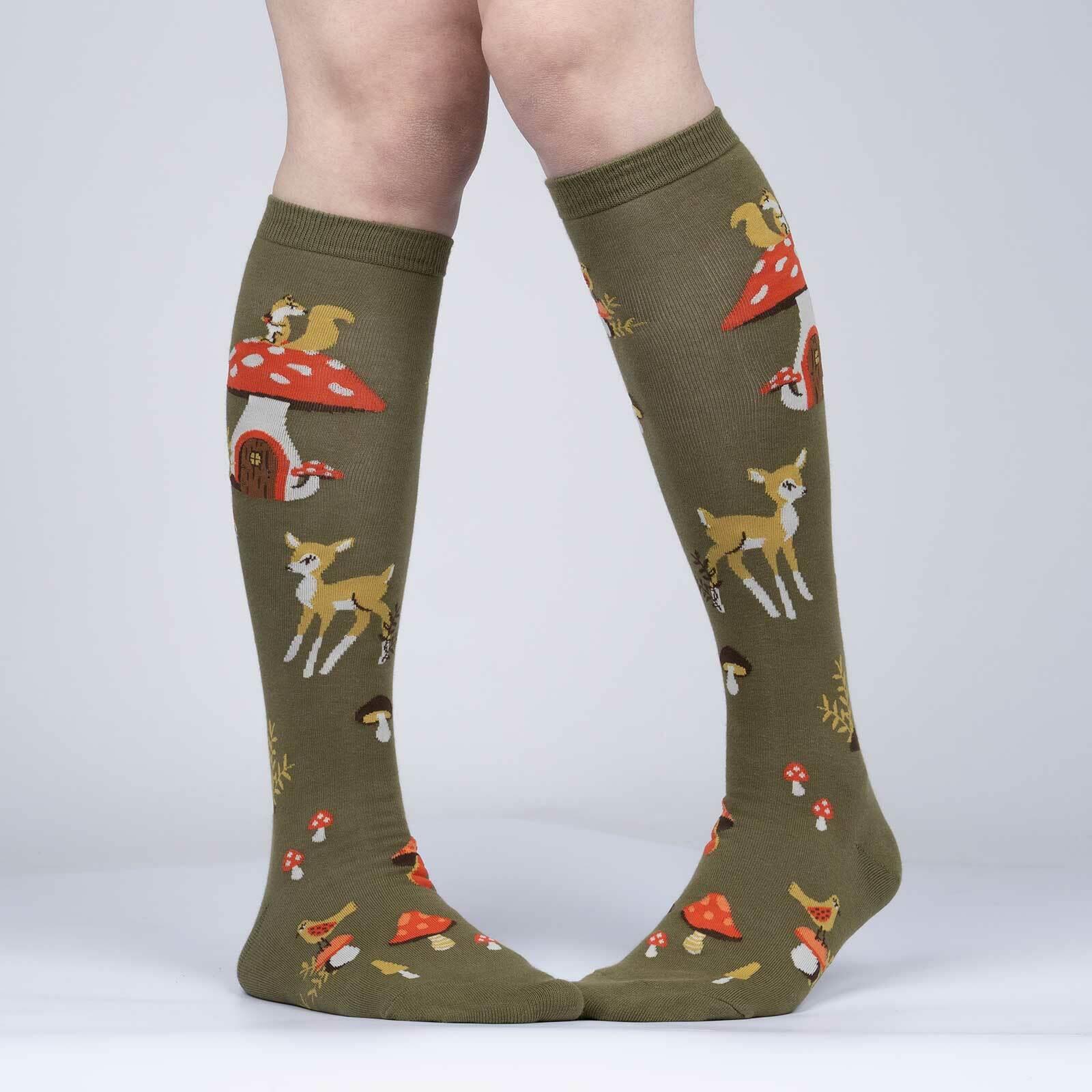 model wearing Shroom and Board - Nature Mushroom Knee Socks - Women's