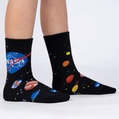 model side view of Solar System - Outer Space NASA Children's Crew Socks Black - Junior