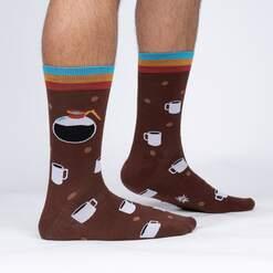 model side view of Pot Head - Funny Coffee Lover Crew Socks Brown - Men's
