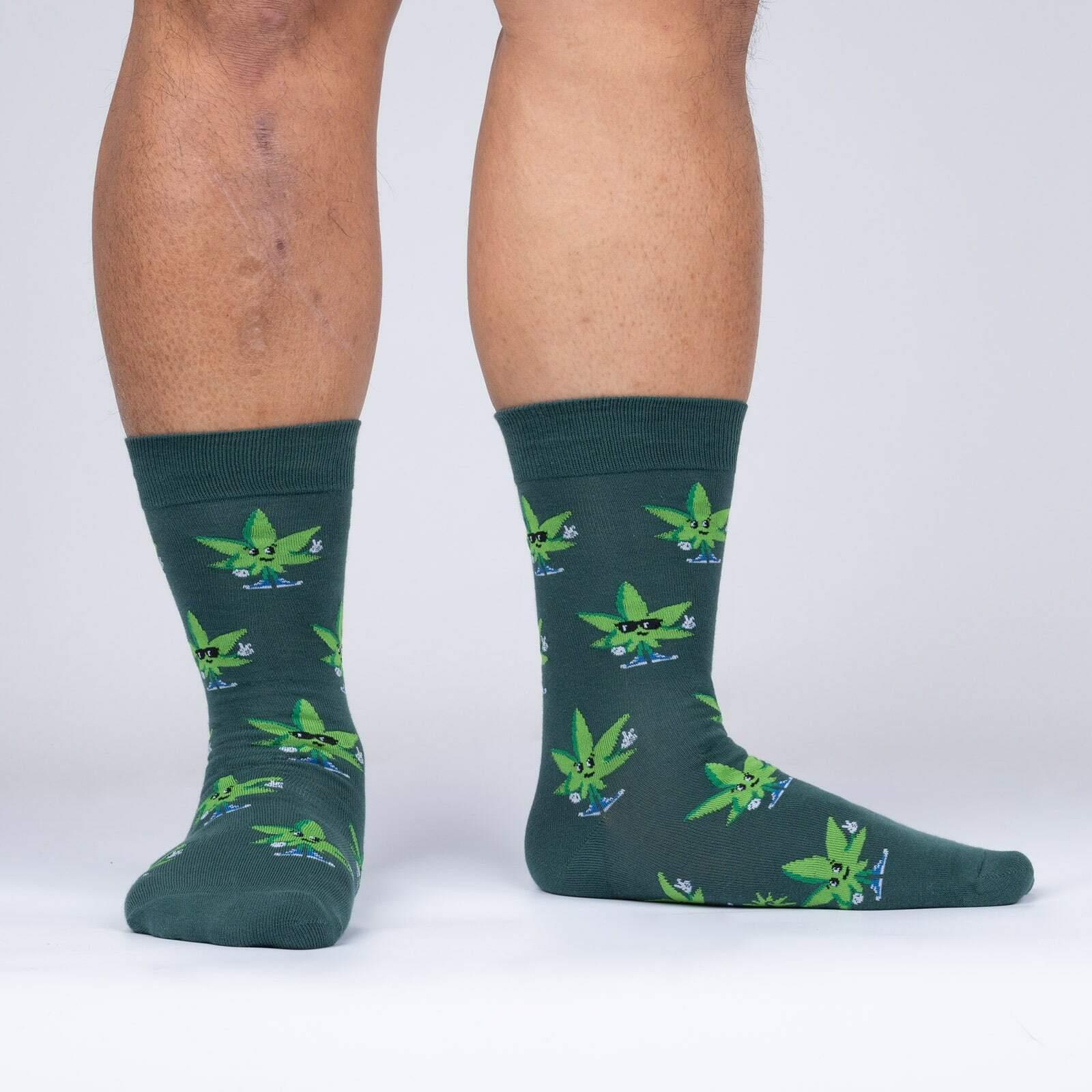 model wearing Green Peace - Funny Weed Crew Socks - Men's