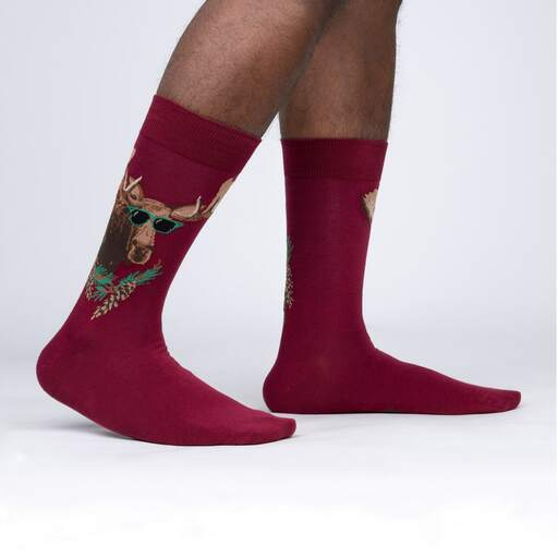 model side view of Famoose - Funny Moose Crew Socks Red - Men's
