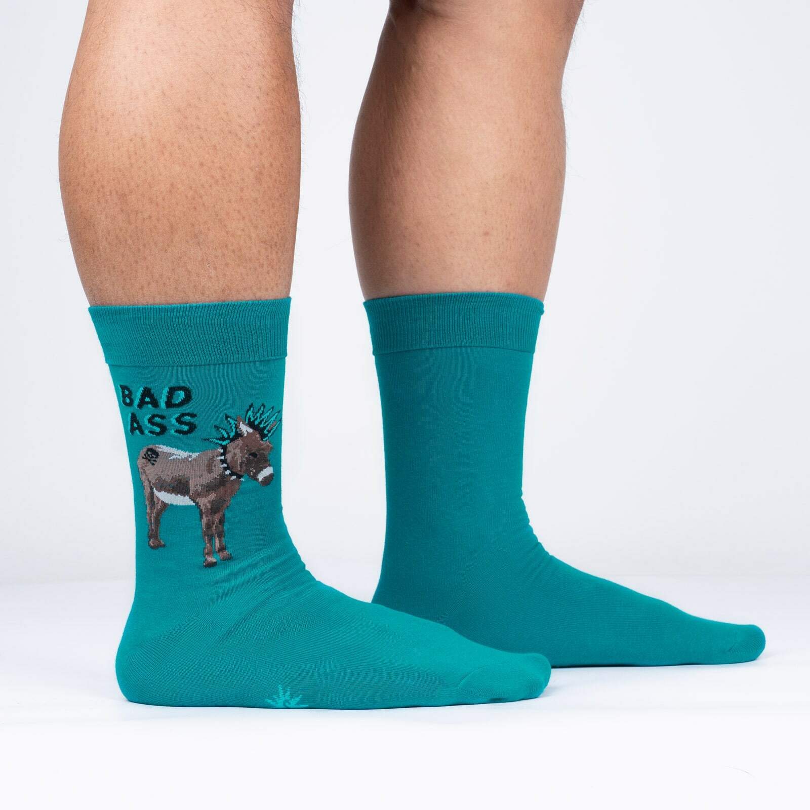 model side view of A Real Bad Ass - Funny Donkey Crew Socks - Men's
