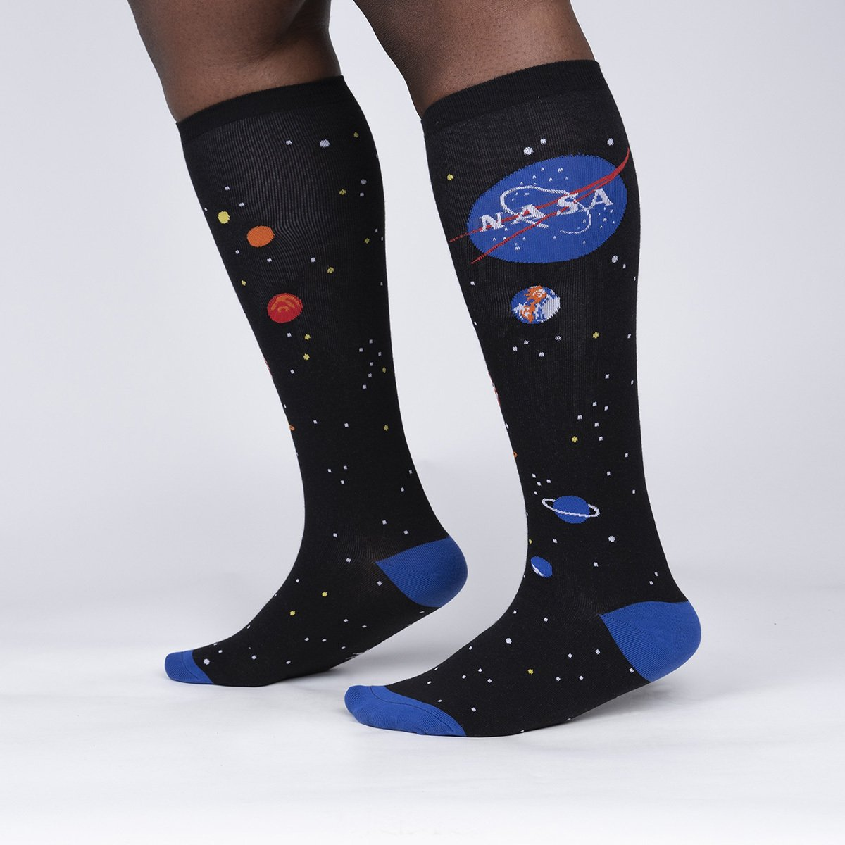 model side view of Solar System - Outer Space NASA Wide Calf Socks Black - Unisex