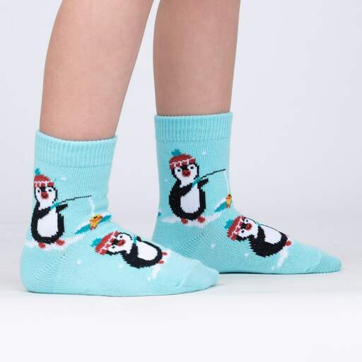 model side view of Fishing You Were Here - Cute Penguin Crew Socks Blue - Toddler
