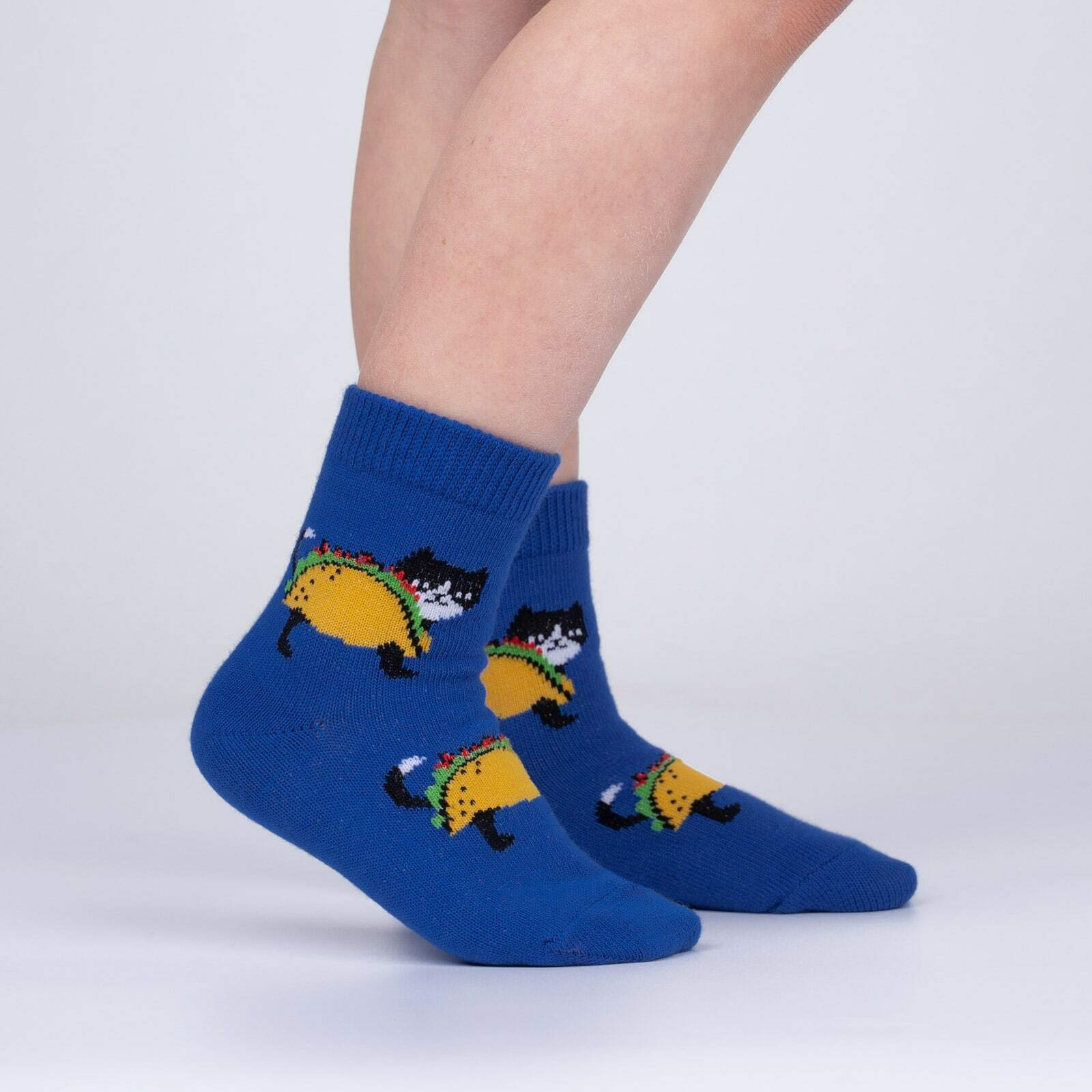 model side view of Let's Taco 'bout Cats - Cat Food Crew Socks - Toddler