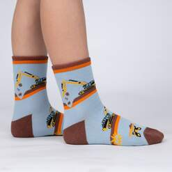 model side view of The Big Dig - Construction and Machine Crew Socks Blue - Youth