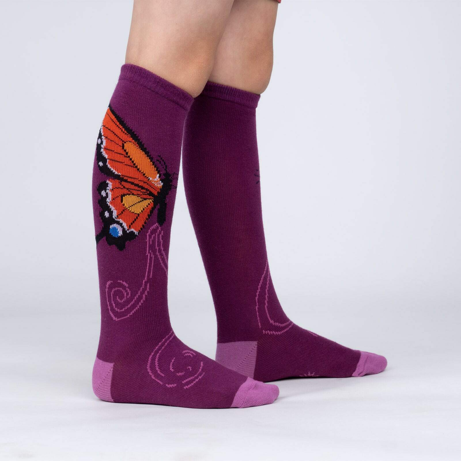 model side view of The Monarch - Beautiful Butterfly Knee High Socks Maroon - Youth