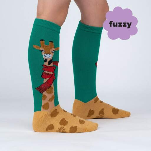 model side view of Bundled Up Up Up - Adorable Giraffe Winter Knee High Socks Green - Youth