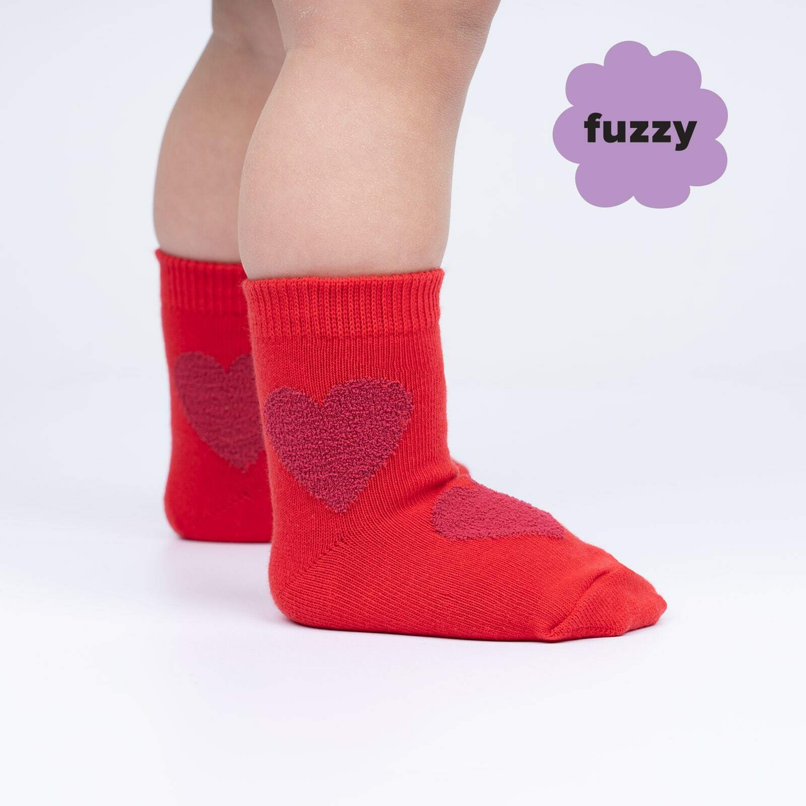 model side view of Sweet Hearts - Fuzzy Love Crew Socks - Toddler