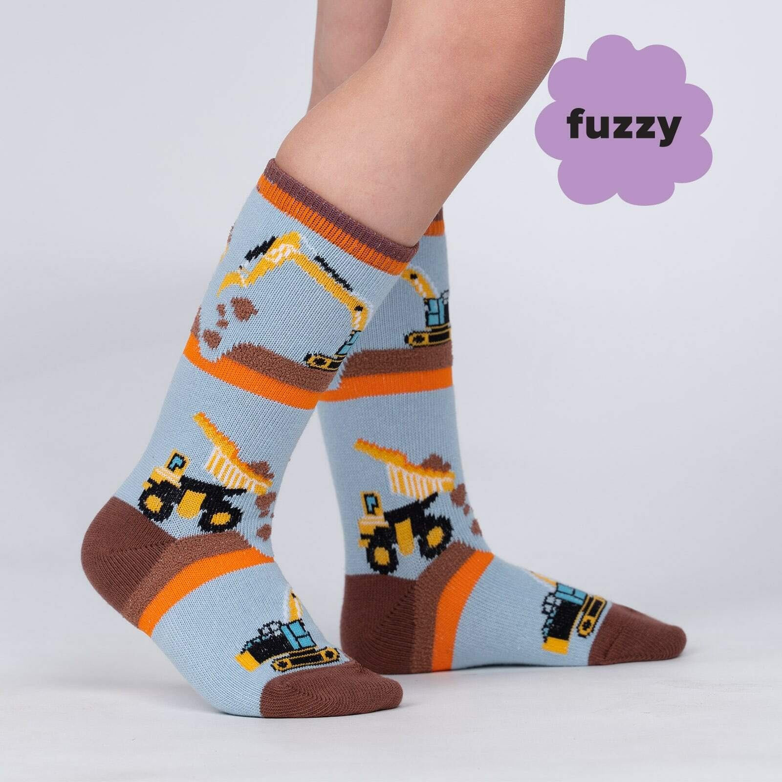 model side view of The Big Dig - Construction and Machine Knee High Socks Blue - Toddler