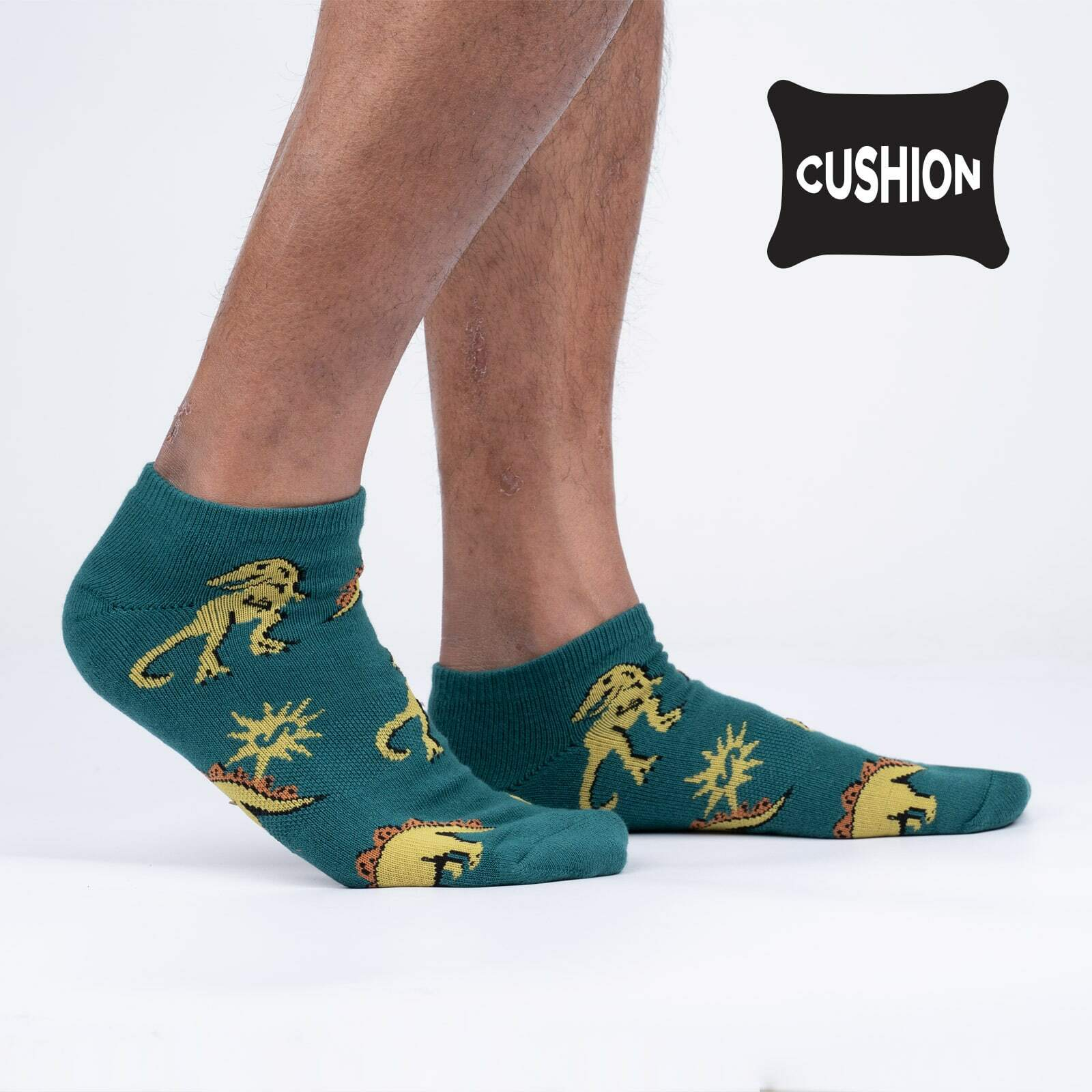 model side view of You Bet Jurassican Cushioned Ankle Socks - M/L