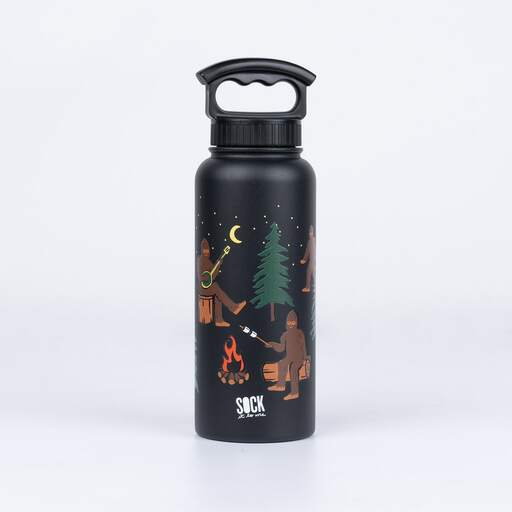 Front view of black Sasquatch Campout water bottle