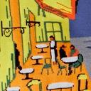 fabric detail of Café Terrace at Night - Vincent Van Gogh Painting Knee High Socks Blue - Women's