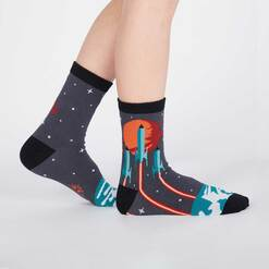 model side view of Launch from Earth - Rocket Crew Socks Blue - Juniors