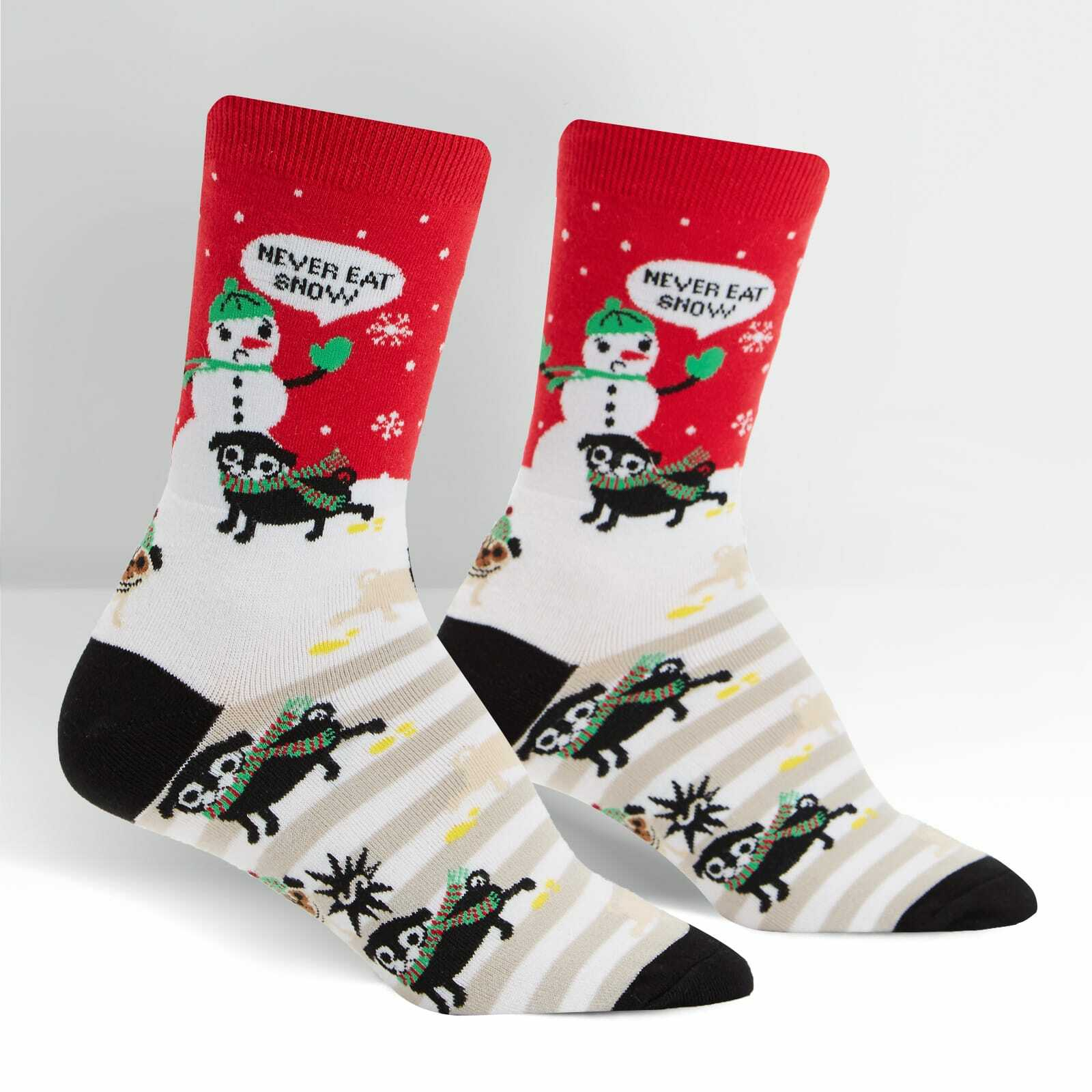 Women's Never Eat Snow - Funny Dog Holiday Red Women's Crew Socks - Sock It to Me in Red