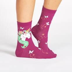 model wearing Believe In Magic Unicorn Crew Socks Pink and Teal - Women's