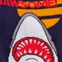 fabric detail of Totally Jawsome! - Great White Shark Crew Socks Blue - Women's