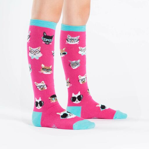 model wearing Smarty Cat - Cat Knee High Socks Pink - Youth
