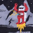 fabric detail of Robot Laser Eyes Crew Socks