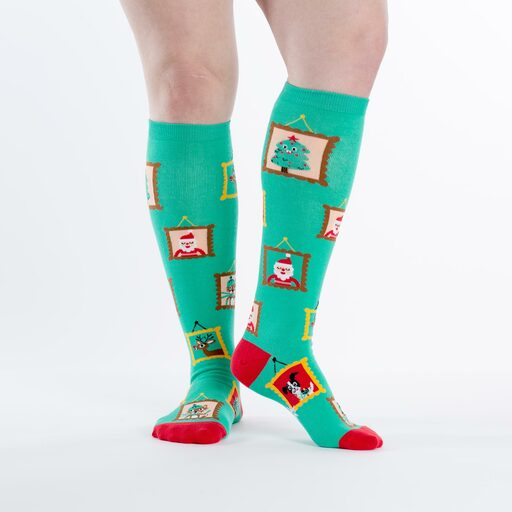 model wearing Holiday Photos - Framed Family Pictures Knee High Socks Green - Women's
