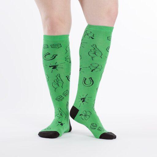 model wearing Lucky Sock - St. Patrick's Day Knee High Socks - Women's
