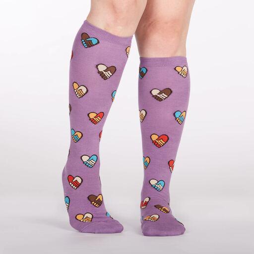 model wearing Hands Across Calves - Friendship Knee High Socks Purple - Women's