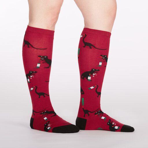 model side view of Winosaurus - Dinosaur Knee High Socks Red - Women's