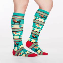 model side view of Yo Quiero Sombrero - Chihuahua Knee High Socks Red and Green - Women's