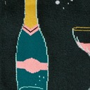 fabric detail of Toe-st of the Town - Champagne Wine Sparkling Drinks Knee High Socks Green - Women's