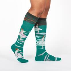 model wearing The Rehearsal - Edgar Degas Painting Knee High Socks Green - Women's