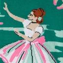 fabric detail of The Rehearsal - Edgar Degas Painting Knee High Socks Green - Women's