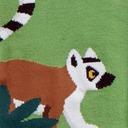 fabric detail of Madagascar Menagerie - Animals of Madagascar Africa Knee High Socks Green - Women's