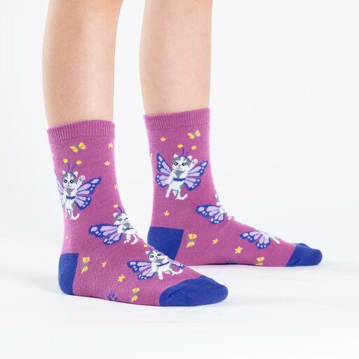 model side view of Catterfly - Cat Crew Socks Purple - Junior