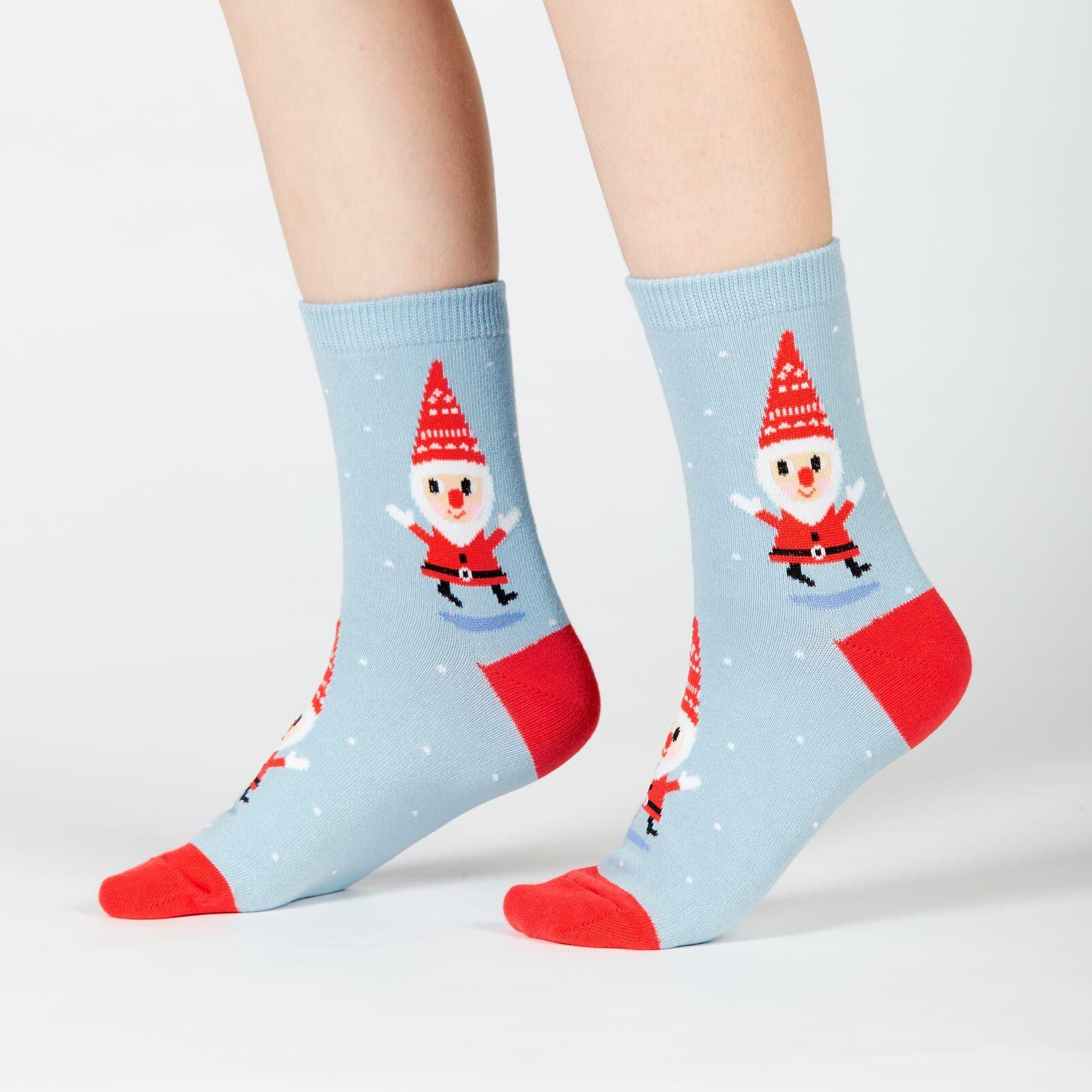 model side view of Santa Gnome - Santa Claus Gnomes in Snow Crew Socks Light Blue - Junior's