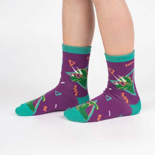 Jurassic Party - Dinosaur Fun Retro Children's Crew Socks - Juniors in Purple