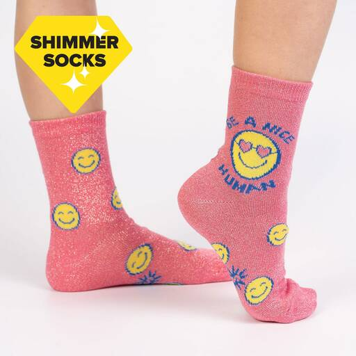 Be a Nice Human - Shimmer Sparkle Smiley Face Positive Statements Children's Crew Socks - Juniors in Pink