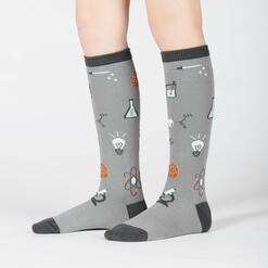 model side view of Science of Socks - STEM Knee High Socks Teal - Junior