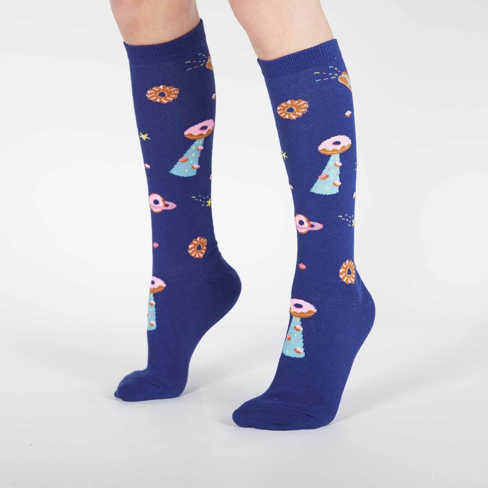 model wearing Glazed Galaxy - Donut Galaxy Knee High Socks - Juniors