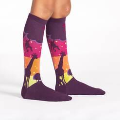 model wearing Sunset Safari Knee High Socks Purple - Junior