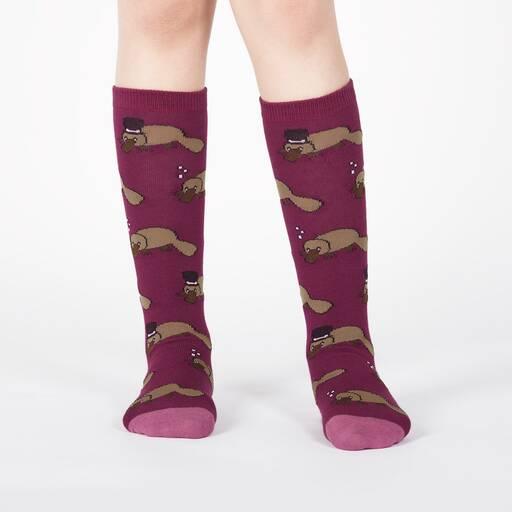 model wearing Plati-tude - Monocle and Top Hat Wearing Platypus Knee High Socks Purple - Junior's