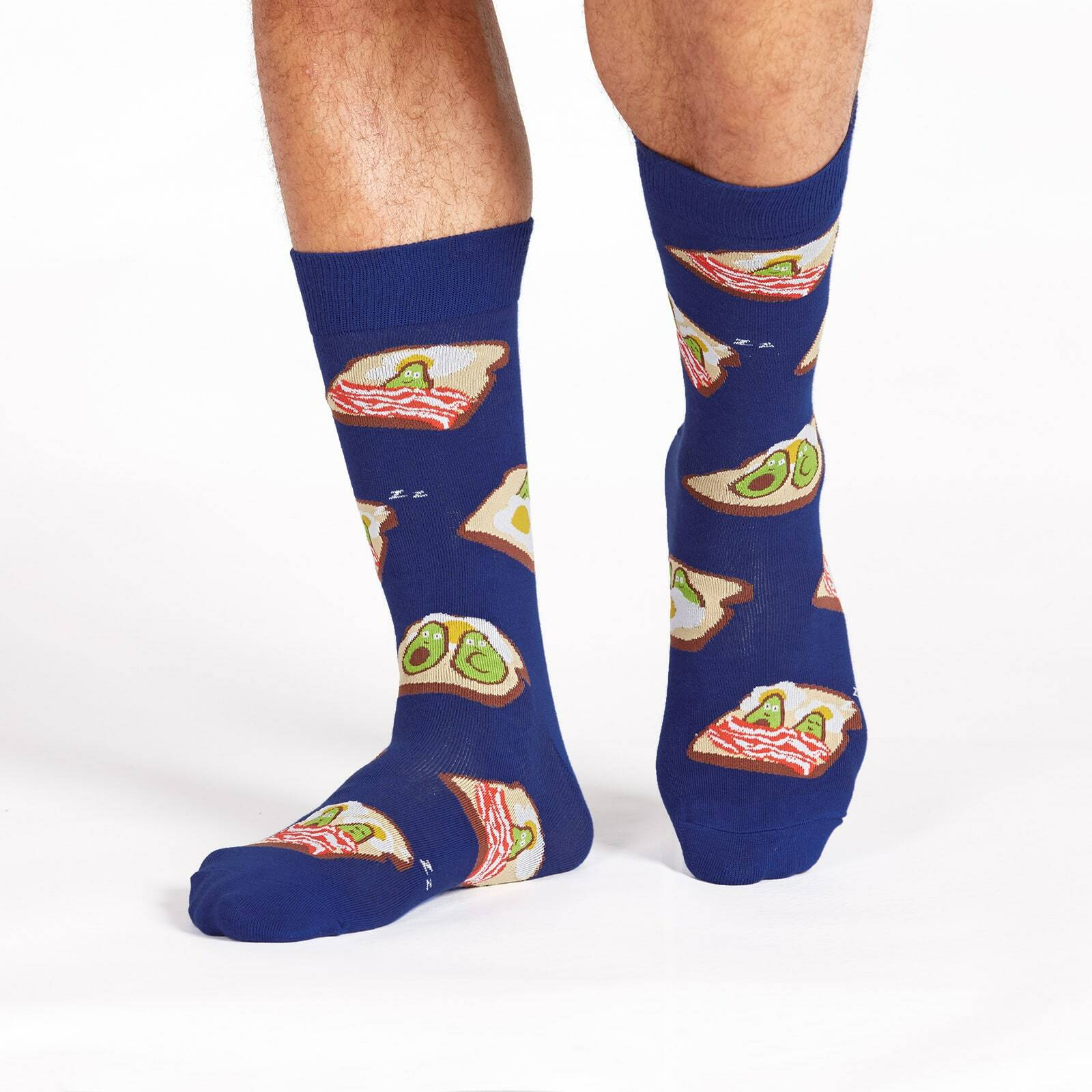 model wearing Breakfast in Bed Crew Socks Blue - Men's